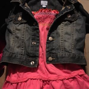 Little me pink flare tank & baby gap jacket. 9 mos